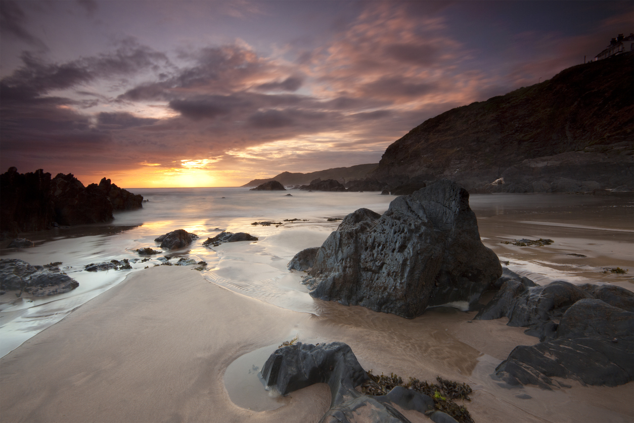 A dramatic sunset at woolacombe on the Atlantic North Devon Coast.