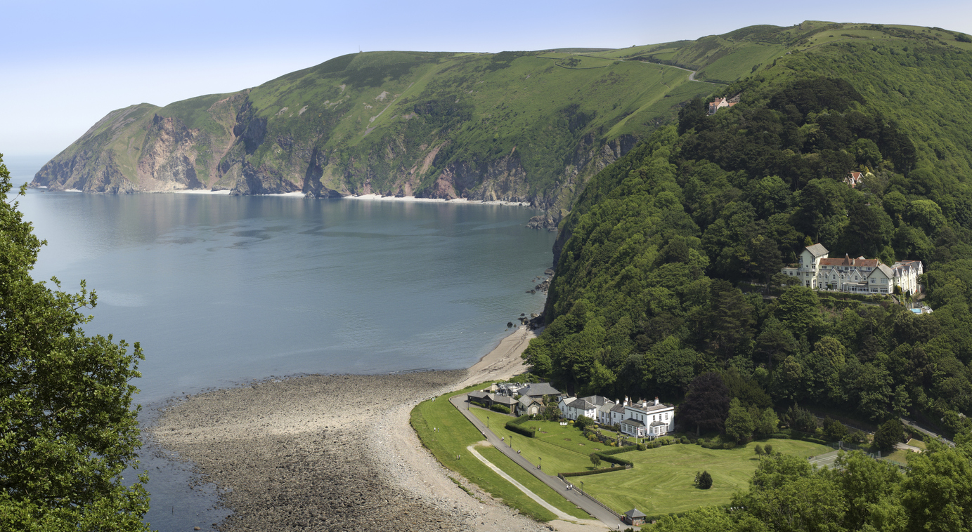 the rocky shore and headland at lynmouth devon