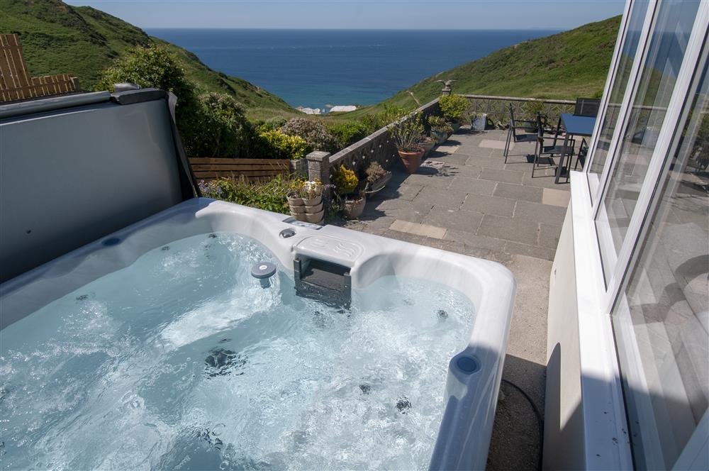 Views of Mortehoe beach from the hot tub at Heatherdale Cottage in North Devon